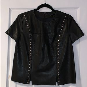 Tops - Black leather top